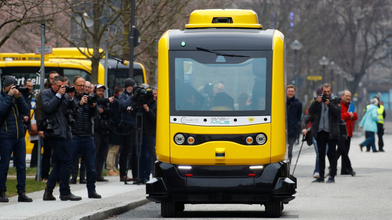 A self-driving shuttle bus, operated by the university hospital Charite and public transport company BVG, drives autonomously during a presentation to the media at the Charite Campus in Berlin, Germany. (REUTERS)