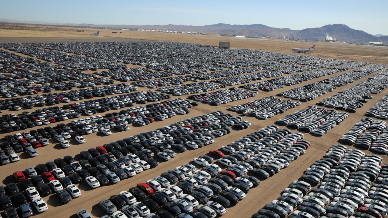 Reacquired Volkswagen and Audi diesel cars sit in a desert graveyard near Victorville, California, U.S. March 28, 2018. Volkswagen AG has paid more than $7.4 billion to buy back about 350,000 vehicles, the automaker said in a recent court filing, and is now storing thousands of vehicles around the United States. (REUTERS)