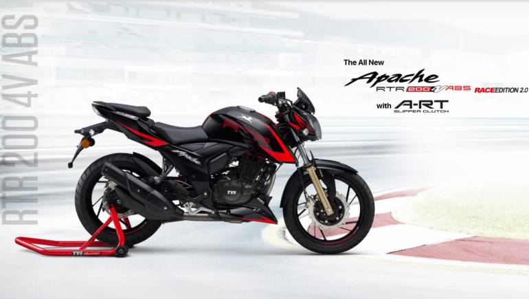 tvs launches apache rtr 200 4v racing edition 2 0 with a rt slipper