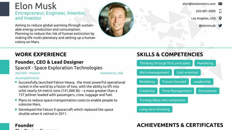 Can Anyone Fit Elon MuskS Resume In A Single Page A Job Assistance