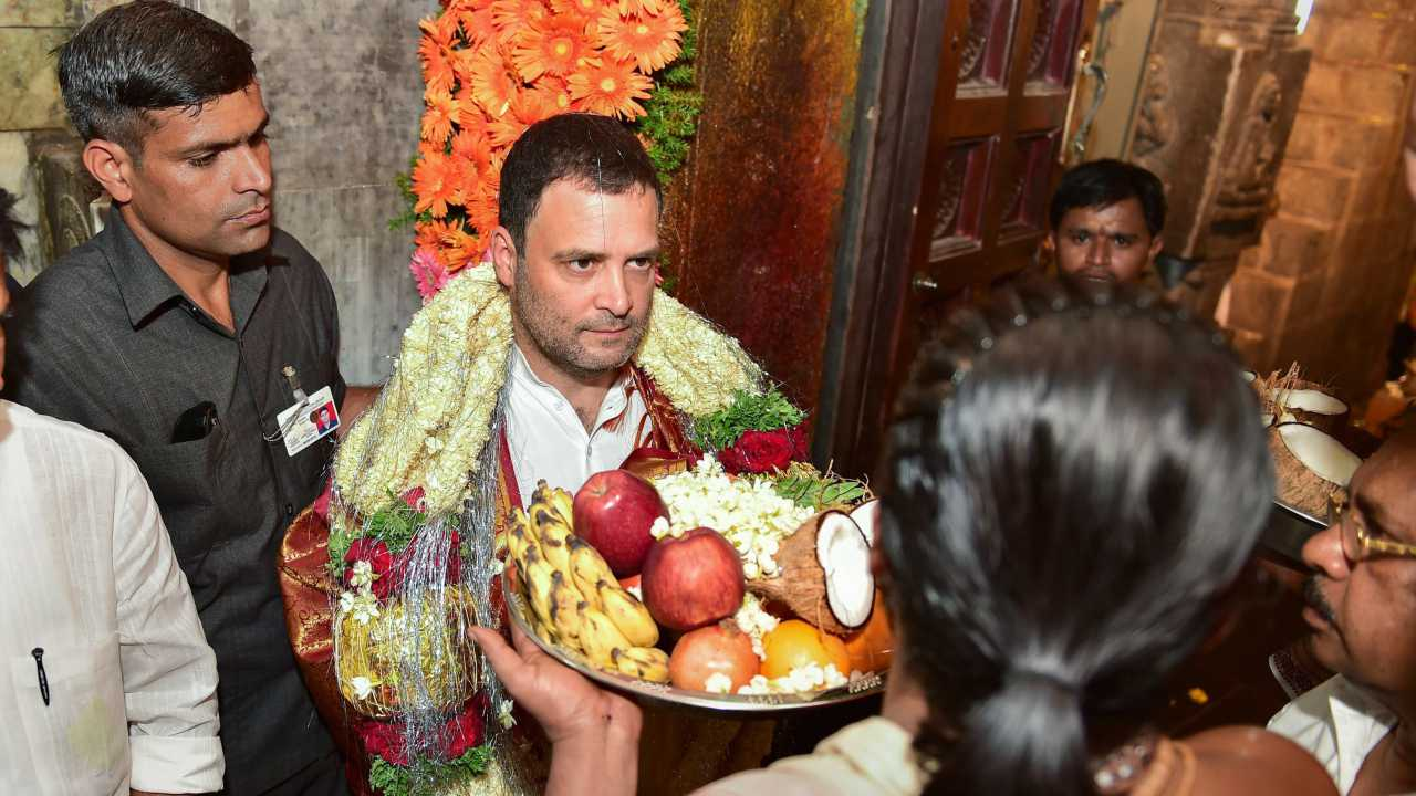 Congress President Rahul Gandhi offers prayers at Kurudumale Ganesha temple ahead of Karnataka Assembly elections in Kolar on 7th April 2018. (PTI Photo)