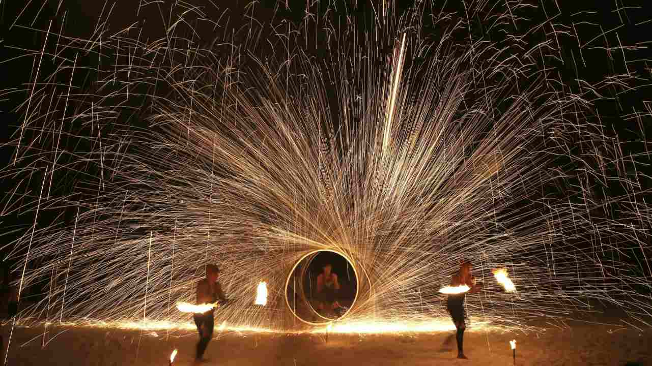 Filipino fire dancers perform for the last time a day before the government implements the temporary closure of the country's most famous beach resort island of Boracay, in central Aklan province, Philippines. (AP/PTI)
