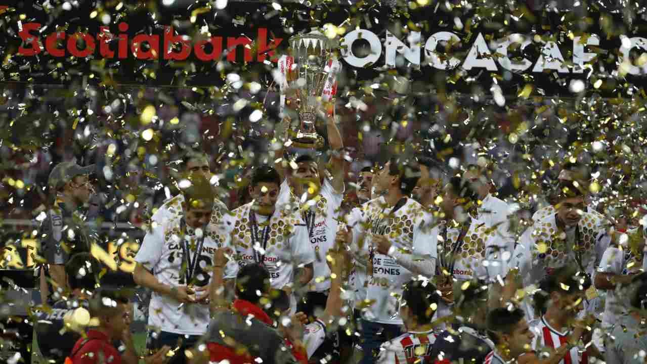 Chivas holds the trophy aloft as they celebrate winning the CONCACAF Champions League final soccer match in Guadalajara, Mexico. (AP/PTI)