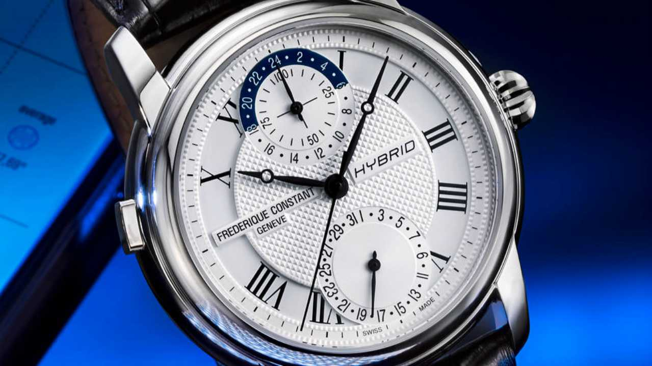 Frederique Constant Hybrid | Cost - Rs 2,27,332 to Rs 2,46,845 | This is a mechanical and electronic watch, having mechanism to run 'smart features'. Set in a 42mm steel case with sapphire crystal glass, it is water resistant. (www.ethoswatches.com)