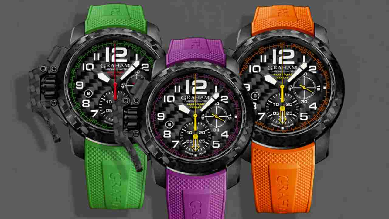 Graham Chronofighter Superlight Carbon | Rs 6,14,049 | Graham watchmakers unveiled this collection, inspired by vibrant colours of racing tyres seen in Formula One racing cars. (Image: www.ethoswatches.com)