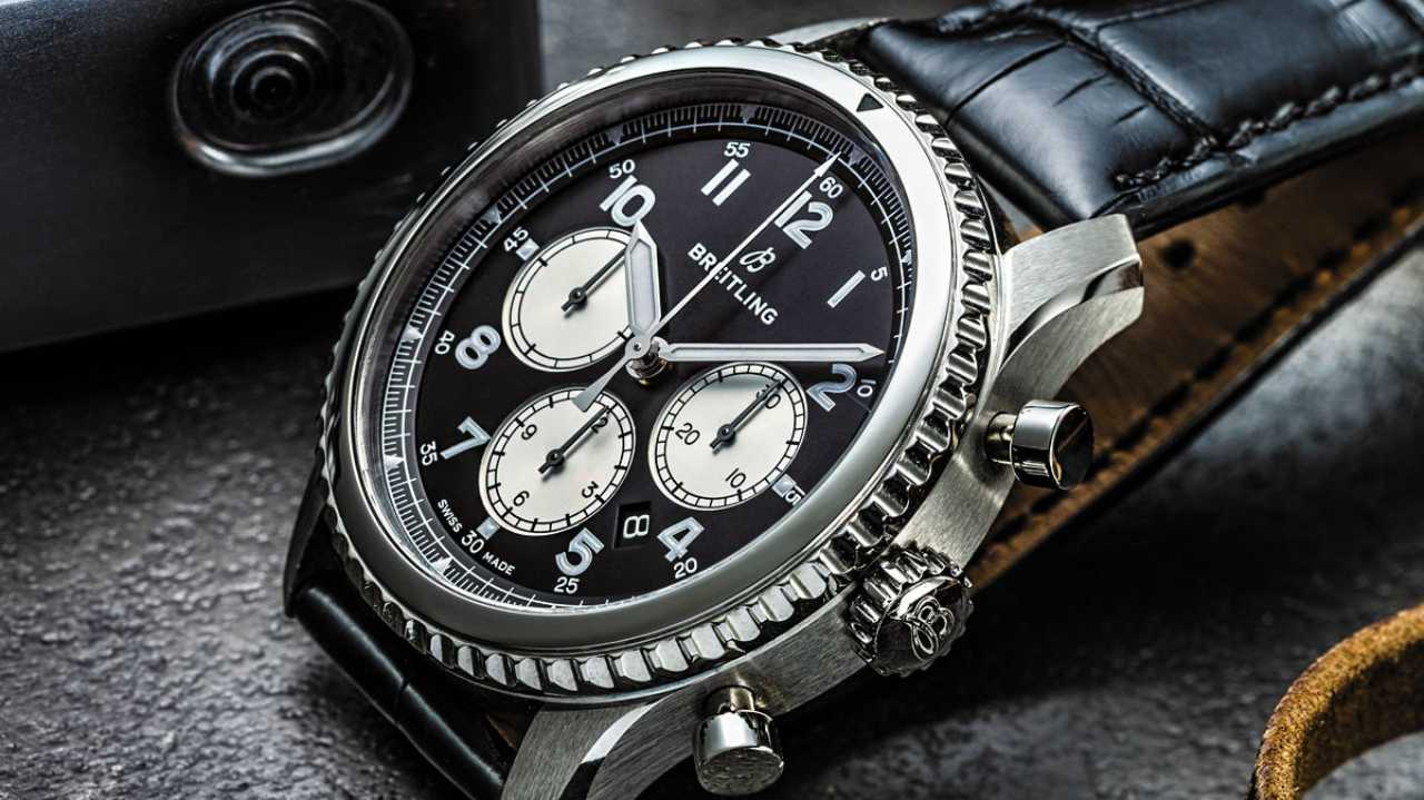 Breitling Navitimer 8 Bo1 | Costs - Rs 5,00,500 | Heavily influenced by the cockpit watches of the 1930s, Breitling's new watch has big numeral hour markers and no slide rule. It has a 43mm steel case and a black leather strap. (Image: www.ethoswatches.com)
