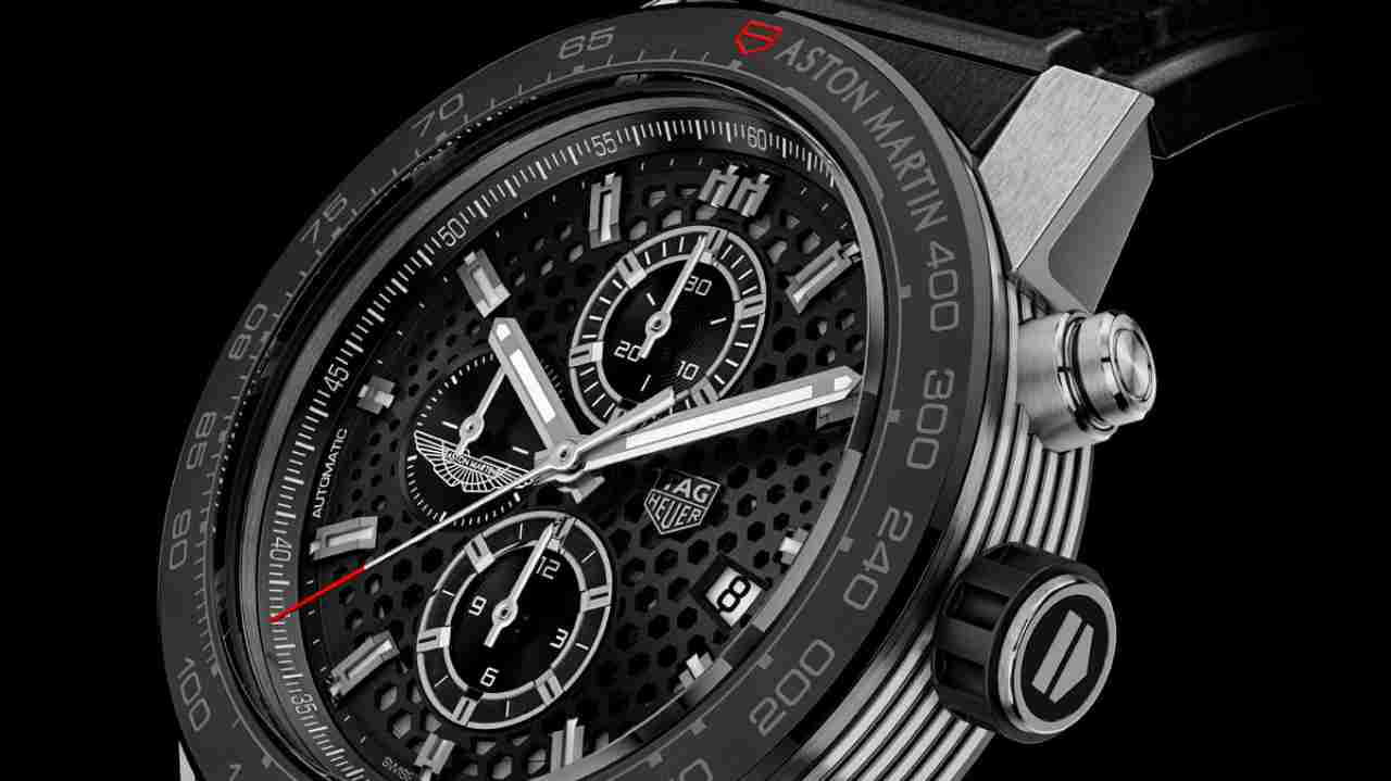 TAG Heuer Carrera Calibre Heuer 01, the Aston Martin Edition | Cost - Rs 4,72,967 | In a partnership with Aston Martin, TAG Heuer launched two special editions. This is set in 45mm steel, a parallel-line pattern on the sides, powered by Heuer 01 automatic calibre. (Image: www.ethoswatches.com)