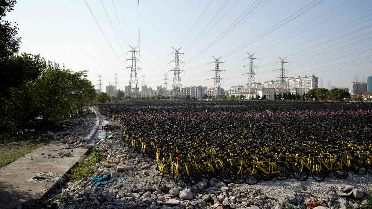 Another bicycle graveyard in Shanghai, China. (Photo: Reuters)