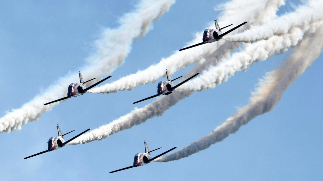 Jets of the Spanish Patrulla Aguila aerobatic demonstration team perform during the 2018 Berlin International Air Show (ILA) in Schoenefeld, Germany. More then 150,000 visitors are expected to attend the Air Show that runs until 29 April. (PTI)