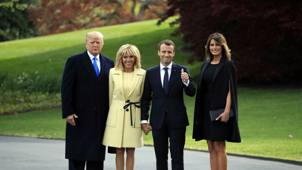 President Donald Trump, French President Emmanuel Macron and his wife Brigitte Macron and first lady Melania Trump pose for a picture on the South Lawn of the White House in Washington, US. (AP/PTI)