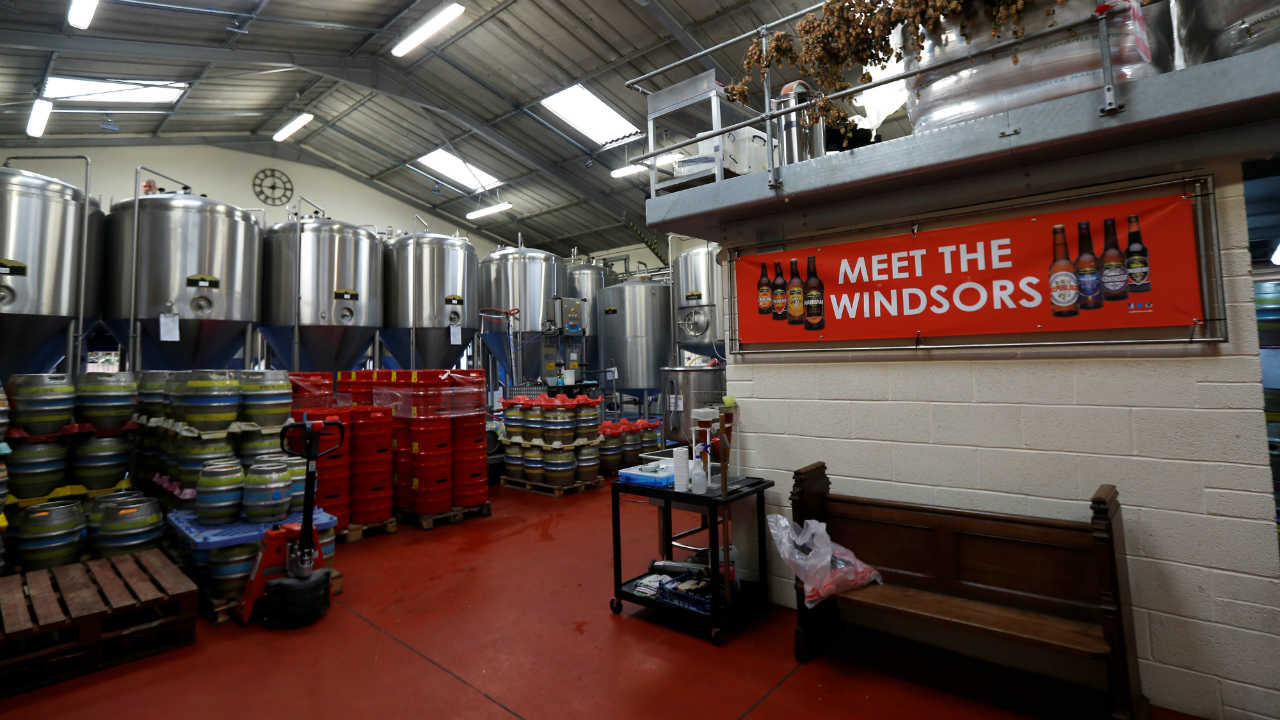 Kegs of beer stand ready for dispatch at the Windsor and Eton brewery in Windsor, Britain. (Photo: Reuters)