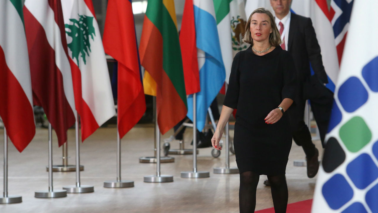 European Union foreign policy chief Federica Mogherini arrives at an international conference on the future of Syria and the region, in Brussels, Belgium. (Reuters)
