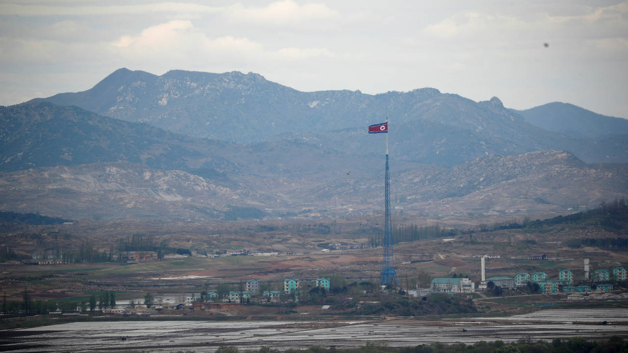 A North Korean flag flutters on top of a 160-metre tower in North Korea's propaganda village of Gijungdong, in this picture taken from the Dora observatory near the demilitarised zone separating the two Koreas, in Paju, South Korea. (Reuters)