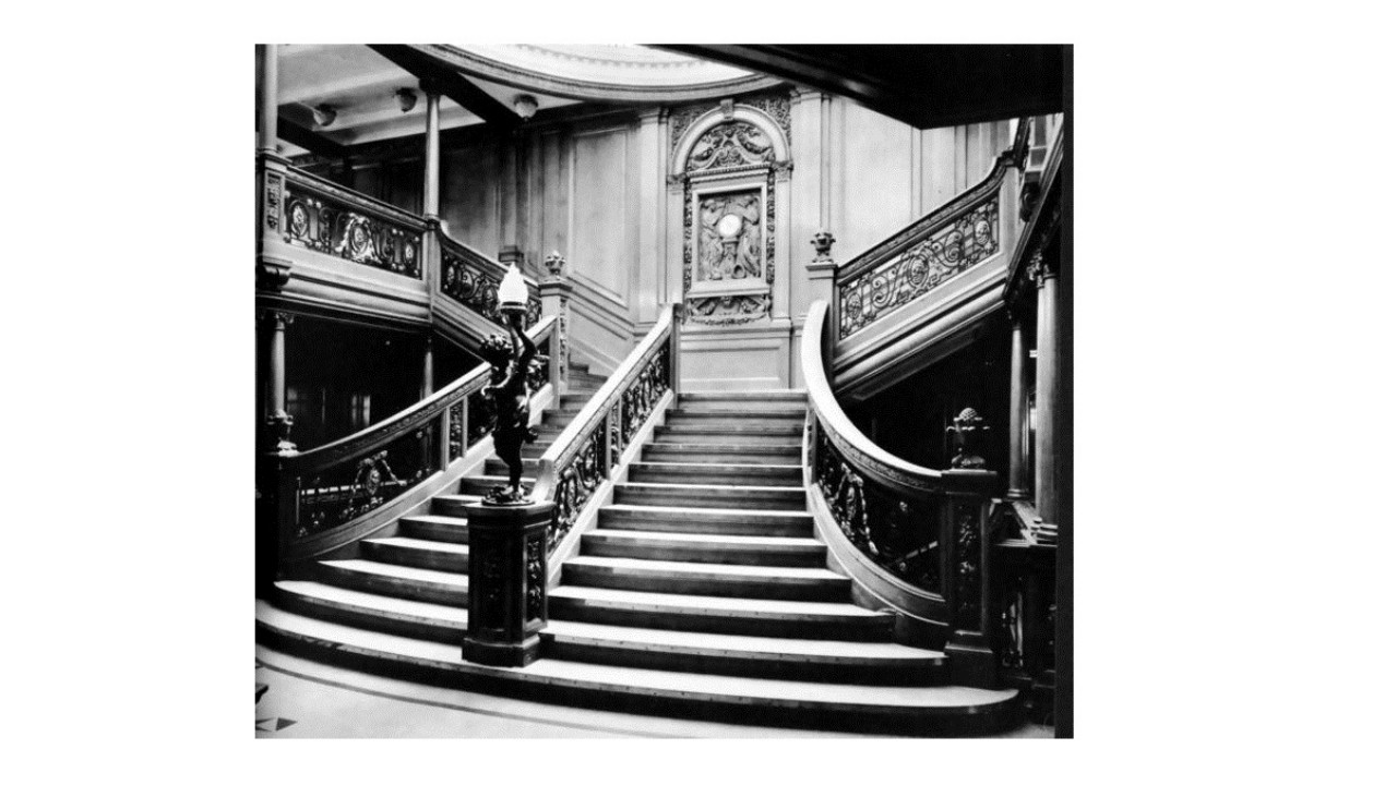 The Titanic's famous Grand Staircase was made of solid English oak. Over 20 expeditions were made to retrieve the passenger's valuables. (Photo: Wikimedia Commons)