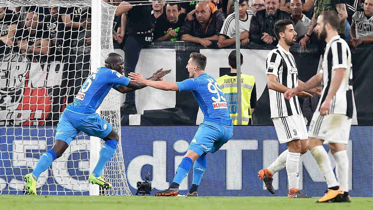 Napoli's Kaliodou Koulibaly, left, celebrates after he scored during a Serie A soccer match between Juventus and Napoli at the Allianz Stadium in Turin, Italy. (AP/PTI)