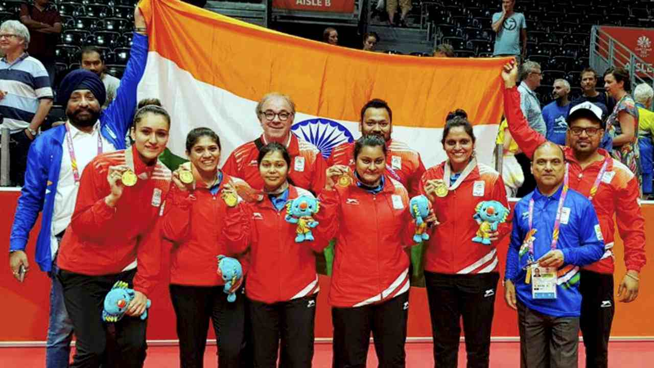 Women's Table Tennis Team | The heroics of Manika Batra led India to a historic win over Singapore Women's Table Tennis team to clinch the gold medal for India. Batra who is ranked 58th in the world humbled multiple Olympic medallist Feng Tianwei (rank 4) with a score of 3-2, then went on to defeat 100th-ranked Yihan Zhou 3-0. The experienced pair of Madhurika Patkar and Mouma Das also registered win over their competitors. Overall, India won the final with a score of 3-1.