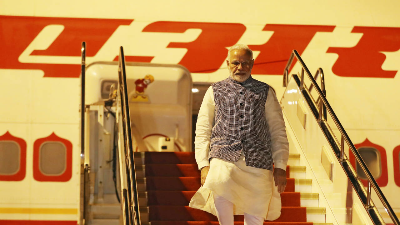 Prime Minister Narendra Modi arrives at the airport in Wuhan, Hubei province, China. (Reuters)