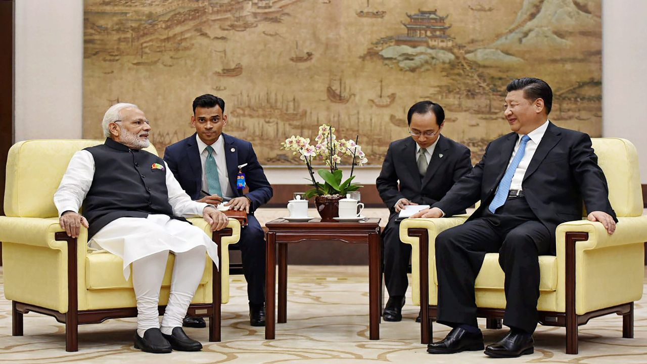 Prime Minister Narendra Modi with Chinese President Xi Jinping during their meeting, in Wuhan, China on Friday. (PTI)