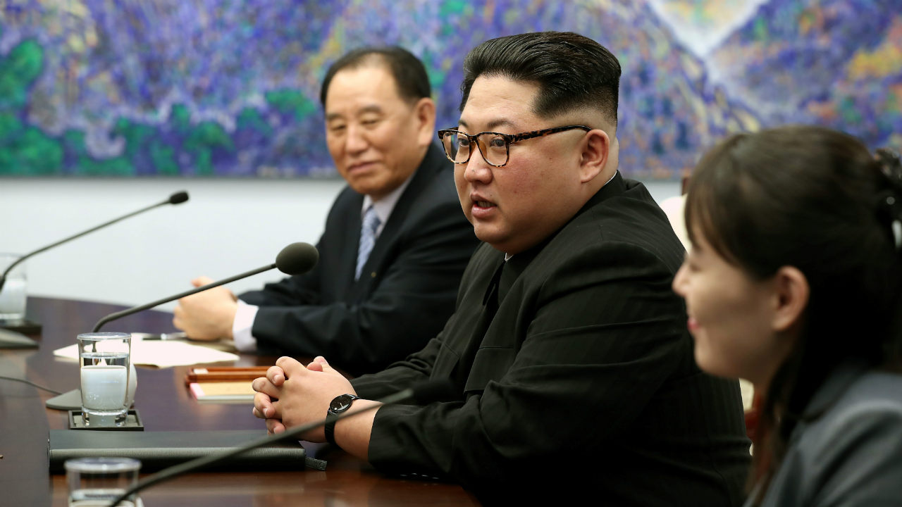 Kim talks during a meeting with Moon at the Peace House. (Image: Reuters)