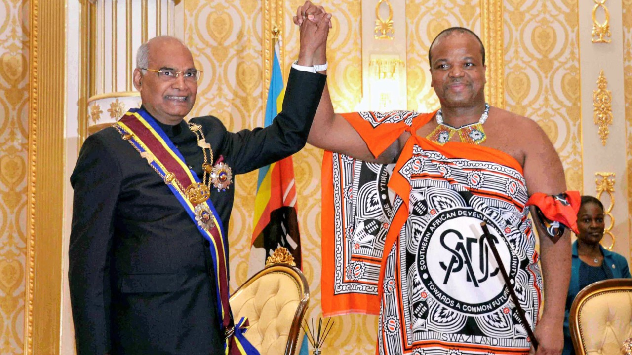 President Ram Nath Kovind after receiving the order of lion from Swaziland King Mswati III at Lozitha Palace in Swaziland, Shikhuphe. (PTI)