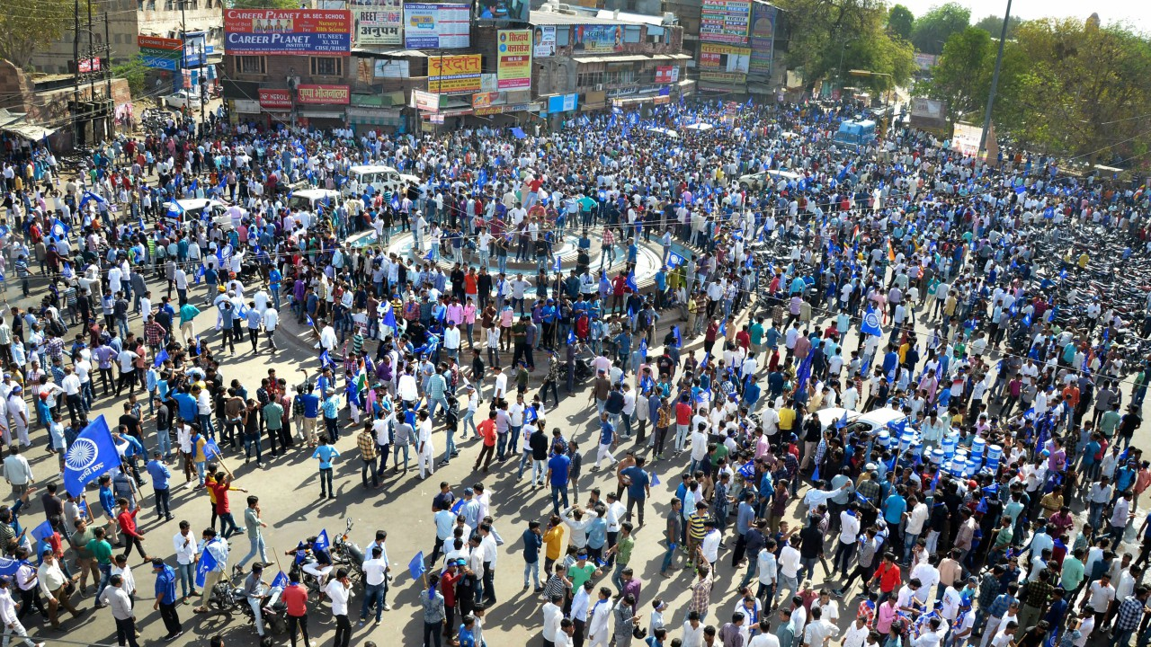 Members of Dalit community and Bhim Sena stage a protest during 'Bharat Bandh' against the alleged 'dilution' of the Scheduled Castes and the Scheduled Tribes Act by Supreme court, in Jodhpur. (PTI)