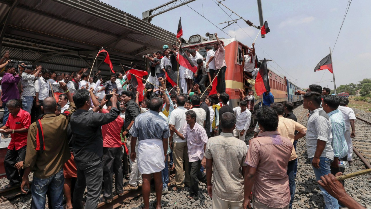 DMK members during a 'rail roko' demonstration during a protest against Central Government over the Cauvery Management Board (CMB) water issue, in Coimbatore. (PTI)