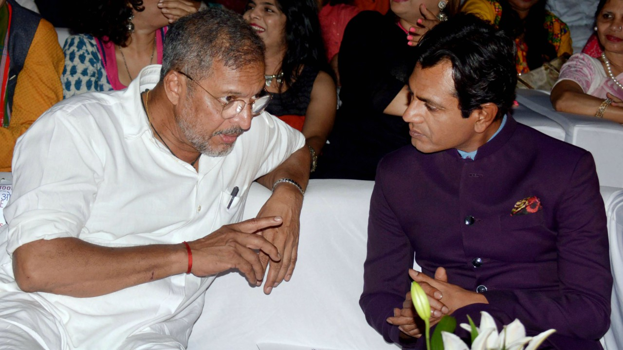 Actors Nawazuddin Siddiqui and Nana Patekar during the closing ceremony of 8th Theatre Olympics organized by Delhi's National School of Drama, in Mumbai. (Image: PTI)