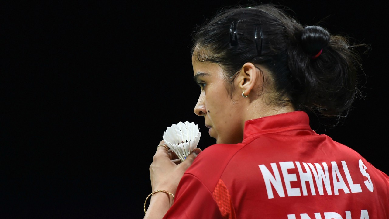 India's Saina Nehwal plays against Malaysia's Sonia Cheah Su Ya during the women's singles mixed-badminton team final at Commonwealth Games 2018 in Gold Coast. (PTI)
