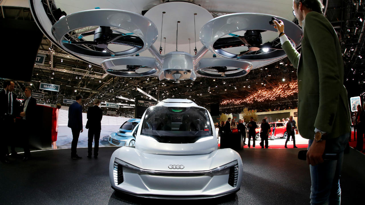 Pop.Up Next | Designed by Audi, Airbus and Italdesign, the Pop.Up Next is a hybrid vehicle that is a self-driving car and is also a passenger drone. The concept aims to solve traffic problems in the cities. (Image: Reuters)
