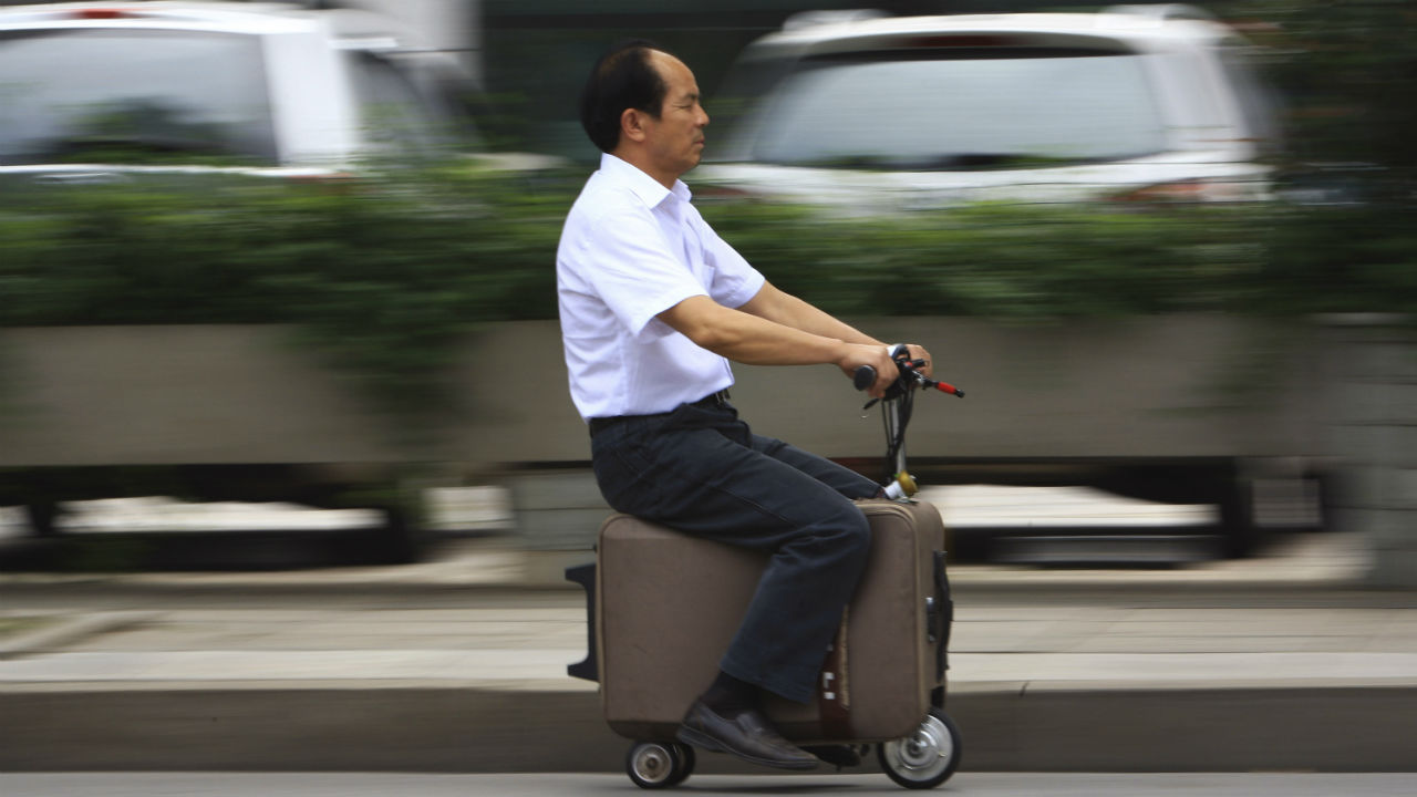 This home-made suitcase vehicle was made by its inventor He Liang. He spent 10 years modifying the suitcase into a motor-driven vehicle. The suitcase has a top speed of up to 20km/h and the power capacity to travel up to 50-60km after one charge, according to local media. (REUTERS)