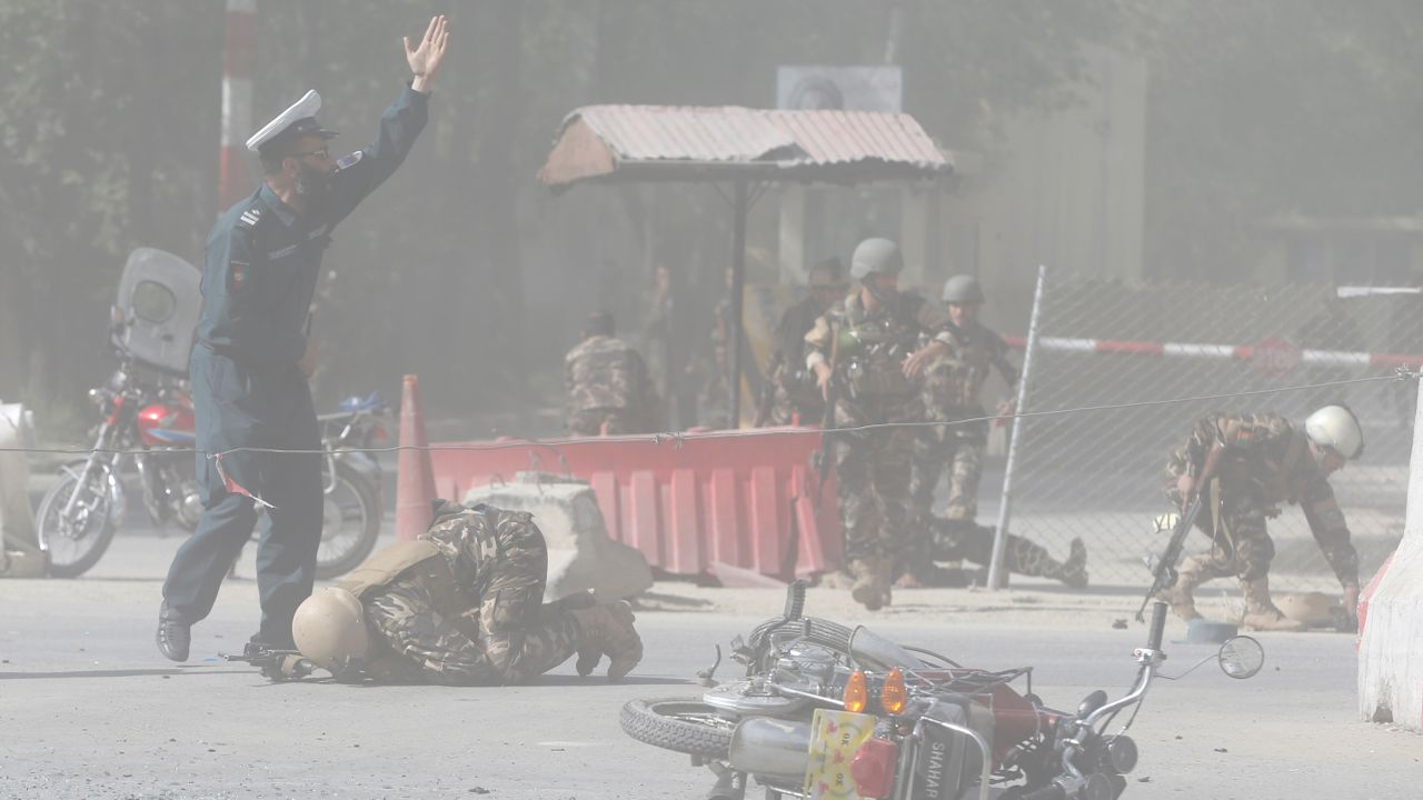 Afghan security forces are seen at the site of a second blast in Kabul, Afghanistan. (Reuters)