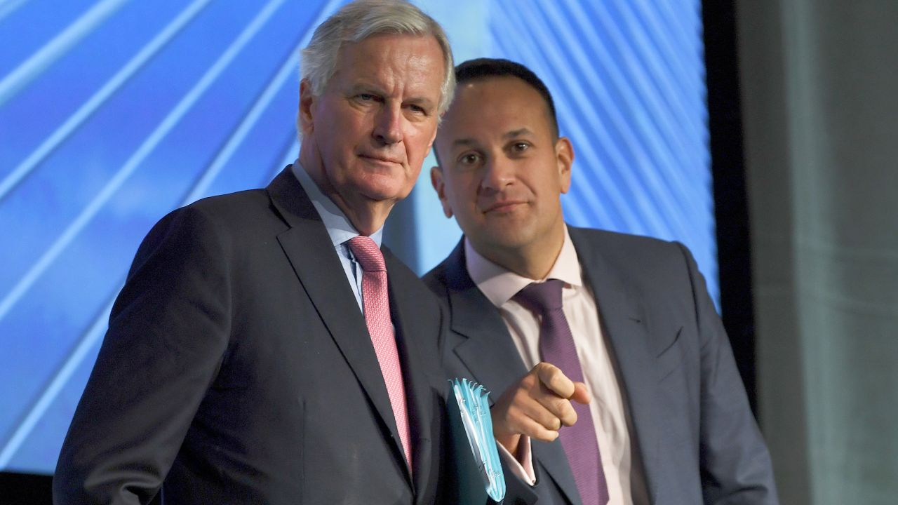 Michel Barnier, the European Union's chief Brexit negotiator, meets Ireland's Taoiseach Leo Varadkar at an all All-Island Civic Dialogue on Brexit in Dundalk, Ireland. (Reuters)