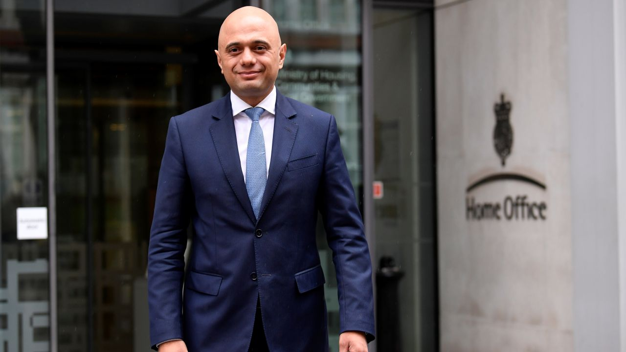 Sajid Javid stands outside the Home Office after being named as Britain's Home Secretary, in London. (Reuters)