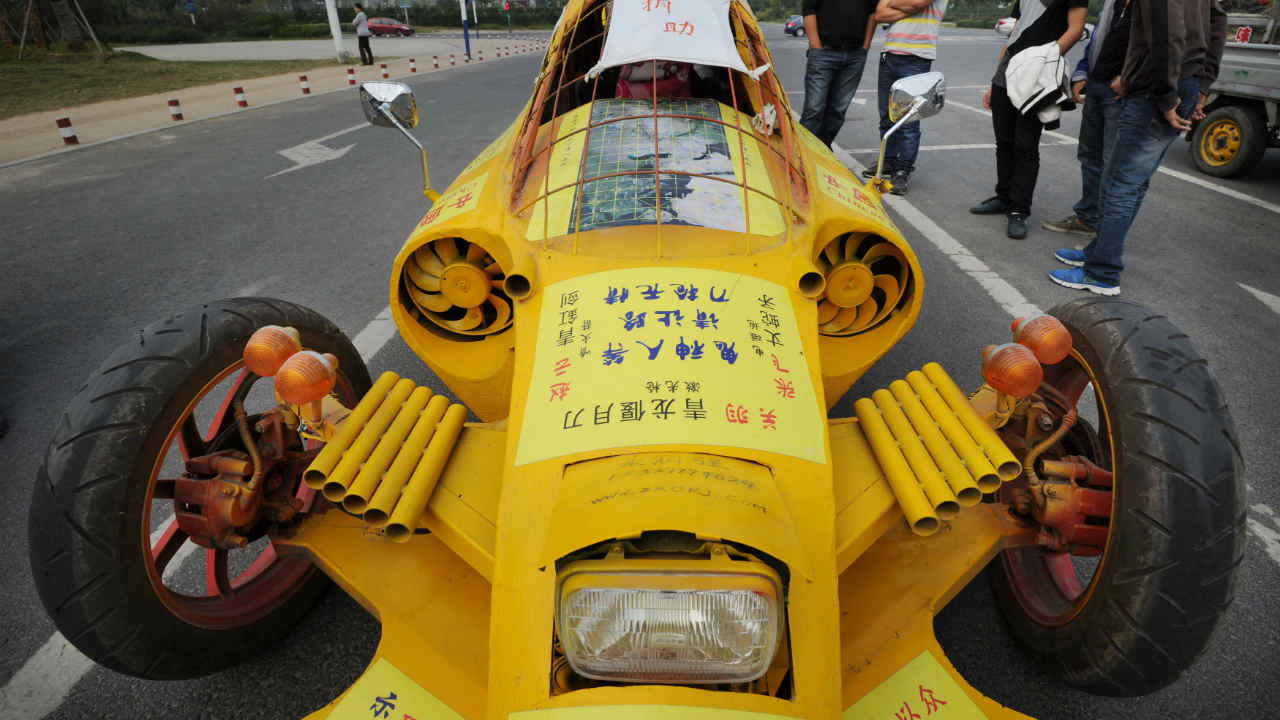 This home-made car was built by Zhu Runqiang in Hefei, Anhui province. He built the car with components he collected from used vehicles. (REUTERS)