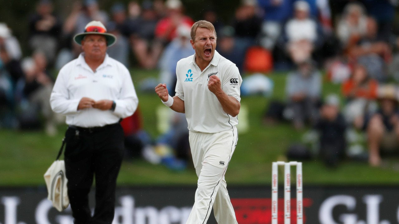 New Zealand's Neil Wagner (R) celebrates the wicket of England's Jonny Bairstow at the Second Test at Hagley Oval in Christchurch, New Zealand. (REUTERS)
