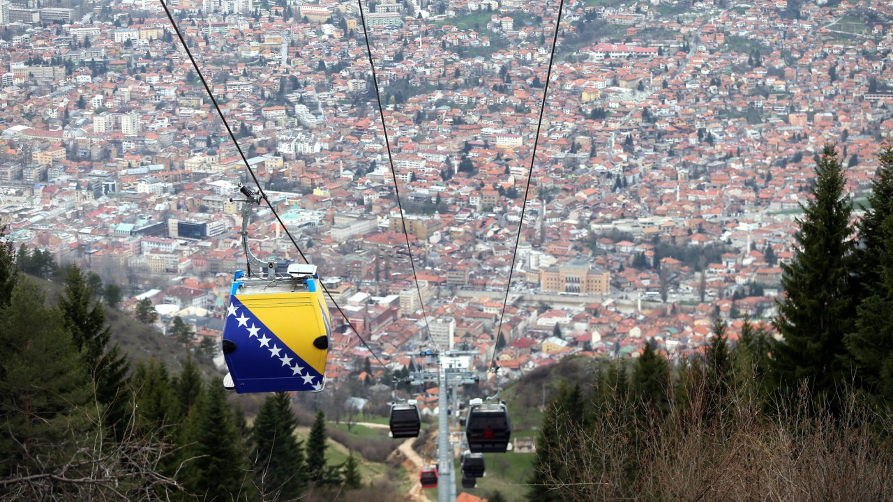 The Trebevic cable car is seen above the city of Sarajevo during a test drive following the restoration of the line after 26 years, Bosnia and Herzegovina. (REUTERS)