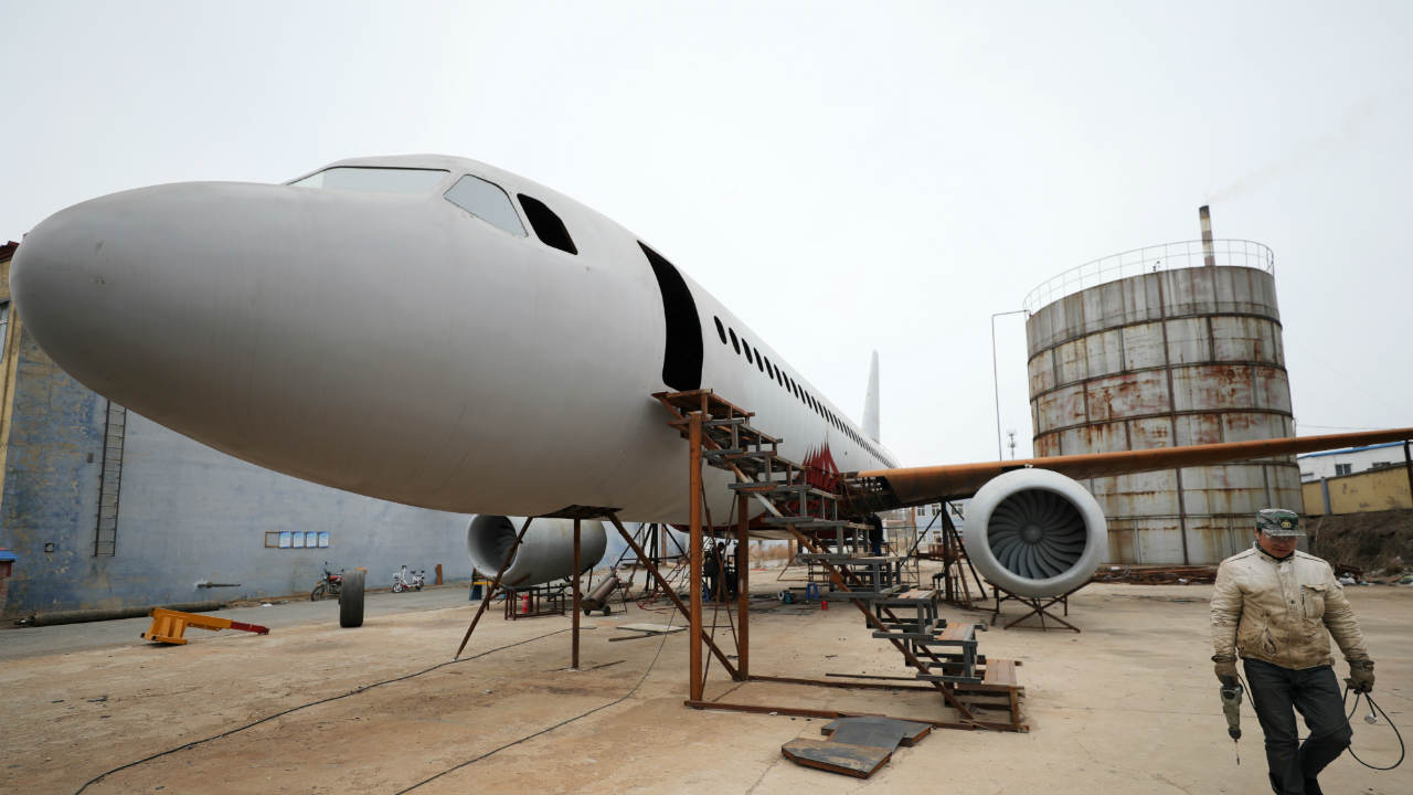 A full-scale replica of the Airbus A320 plane was built by inventor Zhu Yue in Kaiyuan, Liaoning province in China. (REUTERS)