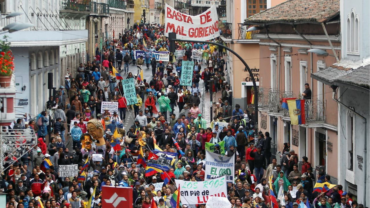 People march to protest against President Lenin Moreno's government in Quito, Ecuador. (Image: Reuters)