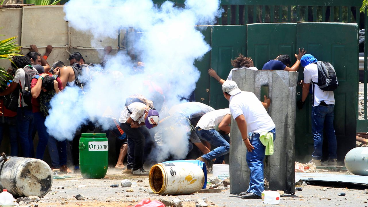Students from the Universidad Agraria (UNA) public university protest against reforms that implement changes to the pension plans of the Nicaraguan Social Security Institute (INSS) in Managua, Nicaragua. (Image: Reuters)