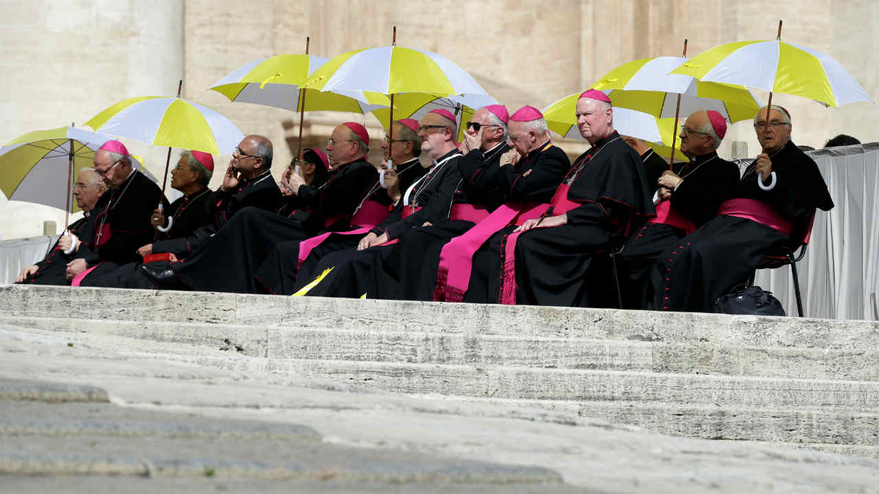 Bishops attend the Wednesday general audience led by Pope Francis leads in Saint Peter's square at the Vatican. (REUTERS)