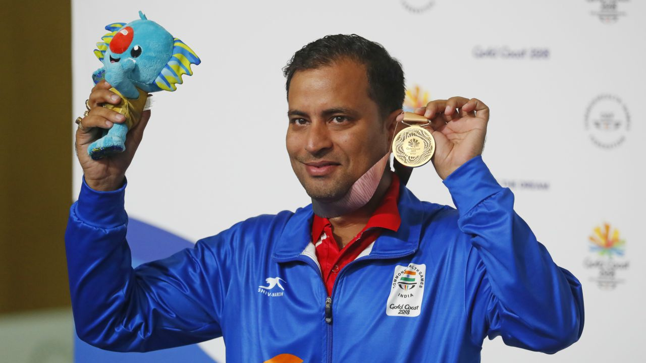 Sanjeev Rajput | Shooter Sanjeev Rajput wins a gold medal in men's 50 m rifle 3 positions. Rajput sets a new games record at 454.5.