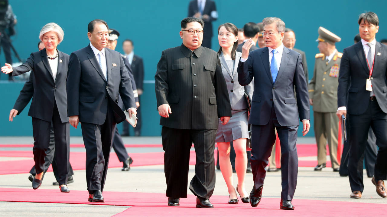 Moon and Kim arrive at the Peace House in South Korea. (Image: Reuters)