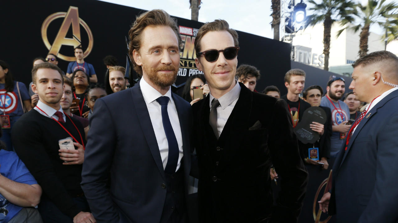 "Actors Tom Hiddleston and Benedict Cumberbatch at the premiere of ""Avengers: Infinity War"" in Los Angeles, California, US. (Reuters)"