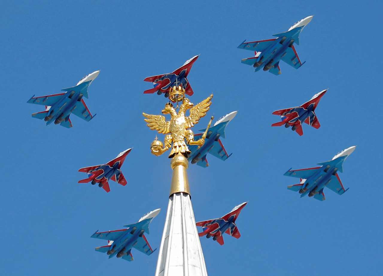 The war witnessed the only use of nuclear weapon resulting in harrowing deaths of thousands of Japanese population. (In picture: Russian army MiG-29 jet fighters of the Strizhi (Swifts) and Su-30 jet fighters of the Russkiye Vityazi (Russian Knights) aerobatic teams fly in formation during the Victory Day parade in Moscow. Picture source: Reuters)