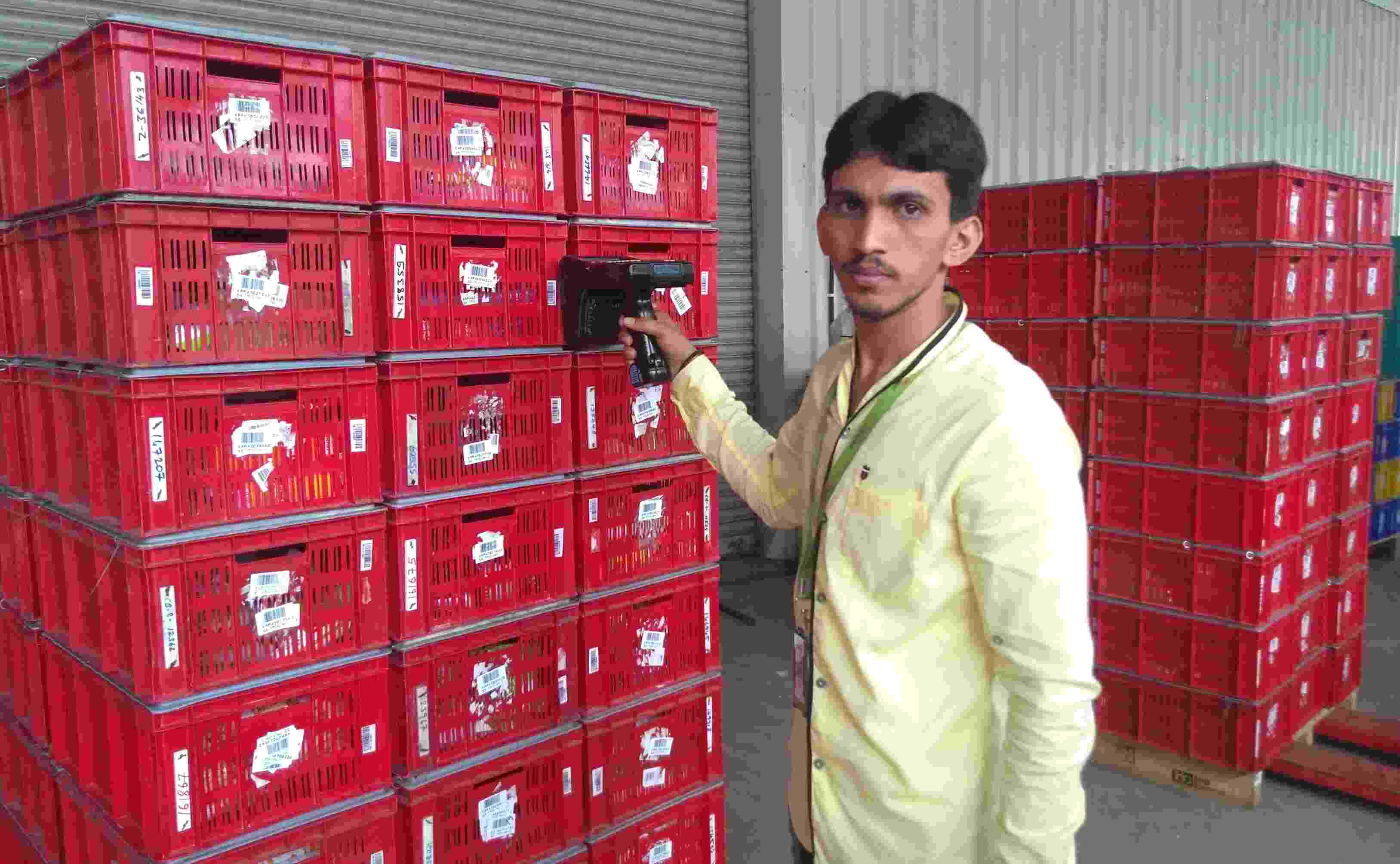 """And before delivery, there's yet another process — RFID — Radio frequency identification. """"It is for crate traceability from the warehouse to the house of the customer,"""" says Kumar. After all of this, the articles are collected in a crate and taken for dispatch from where the trucks can take them to the delivery hubs."""