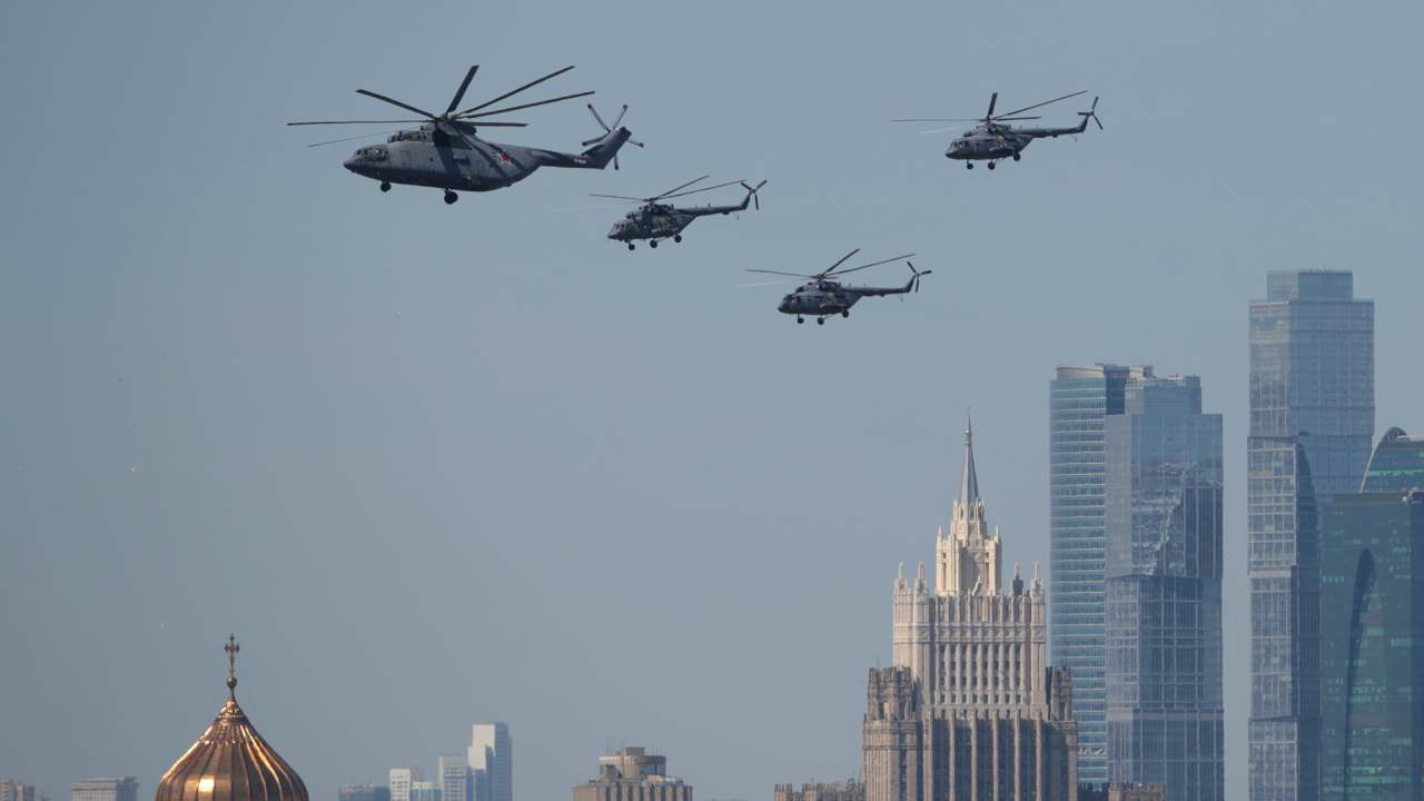 After six years of devastating war, the fighting forces finally put an end to war in Europe bringing relief to the ravaged population. The war directly involved 100 million people from over 30 countries. (In image: A Russian Mi-26 heavy transport helicopter and Mi-8 military helicopters fly in formation over the Christ the Saviour Cathedral and the Foreign Ministry headquarters during the Victory Day parade in Moscow)