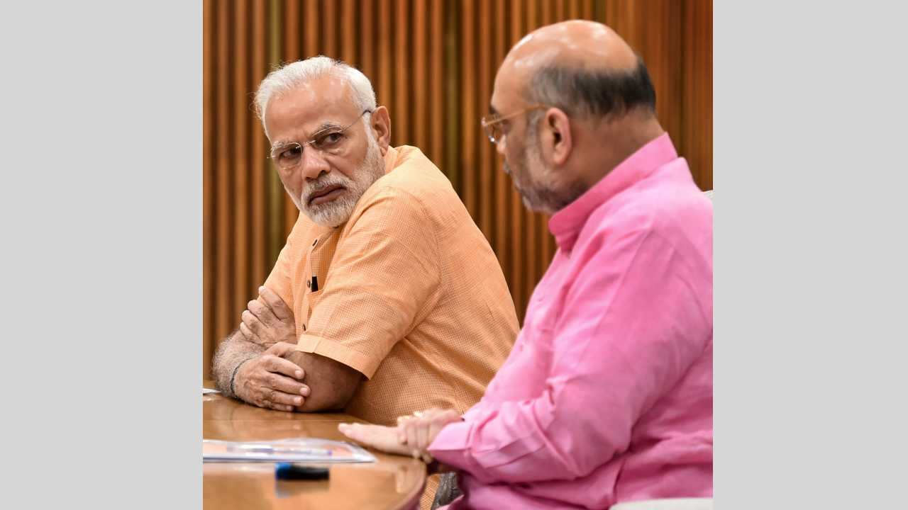 Prime Minister Narendra Modi and BJP President Amit Shah during an election committee meet at BJP Headquarters in New Delhi on 8th April 2018. (PTI Photo)