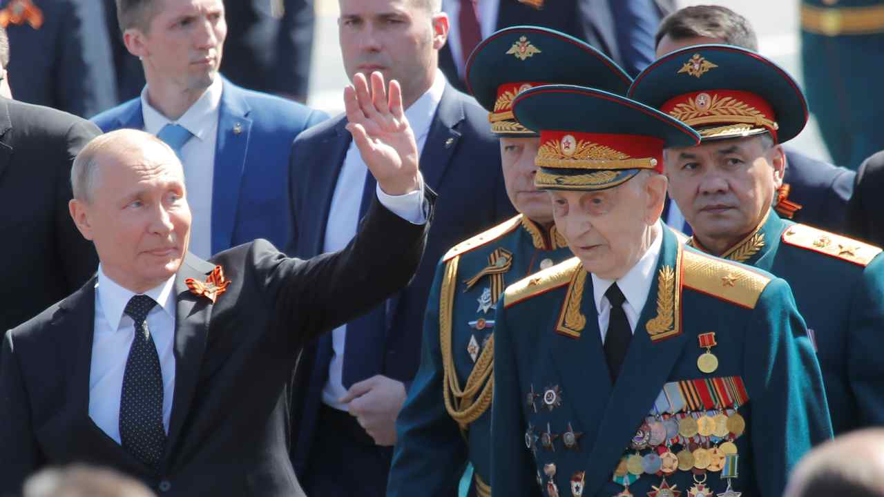 After a few years of toned down celebrations in 1990s, the celebrations on the day regained its vigour with the rise of Vladimir Putin in power. (In image: Russian President Vladimir Putin and Defence Minister Sergei Shoigu attend the Victory Day parade in Moscow)