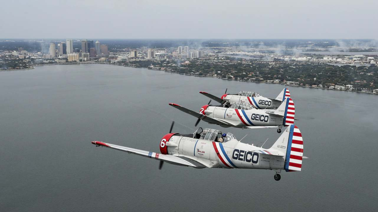 The Geico Skytypers fly a demonstration over downtown Tampa, Fla., ahead of Tampa Bay AirFest. (AP/PTI)
