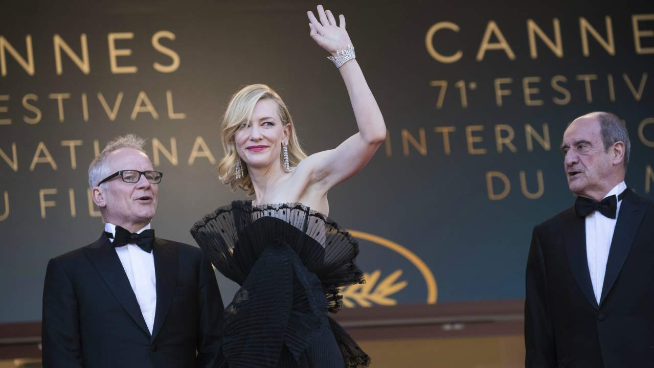 Cannes Film Festival Director Thierry Fremaux, from left, Jury President Cate Blanchett and Cannes Film Festival President Pierre Lescure pose for photographers upon arrival at the premiere of the film 'Capharnaum' at the 71st international film festival, Cannes, southern France. (AP/PTI)